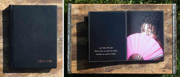 Boudoir album in black leather with copper imprinting and giclee pages