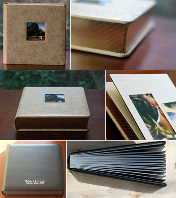 Matted albums in cream with gold gilding, and black with silver gilding